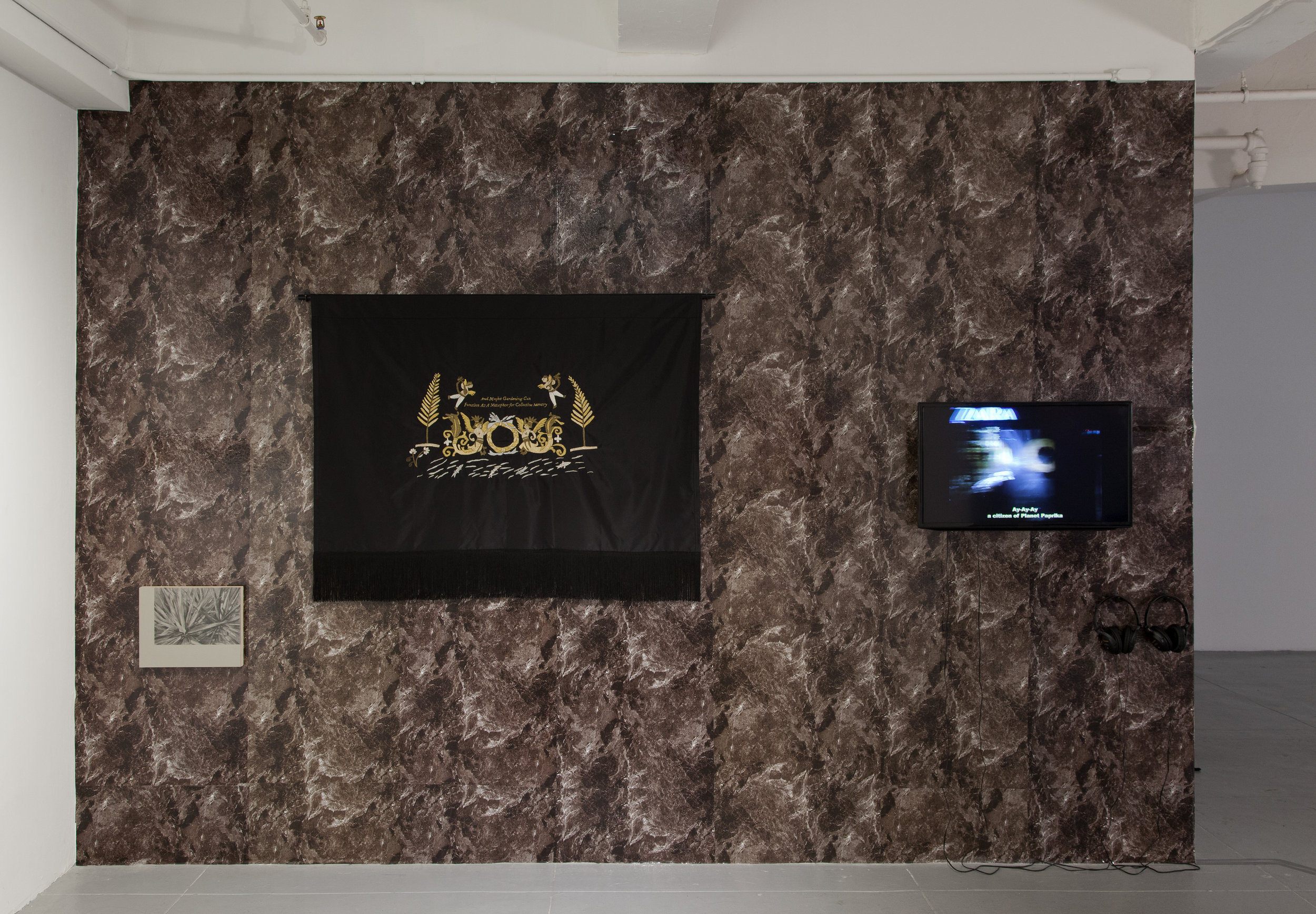 Uncanny Gardening II  (installation view), 2017, wallpaper, graphite, gesso and resin on wood panel, gold thread on silk, cotton fringe, metal rod, single channel video loop, 13x9 ft.
