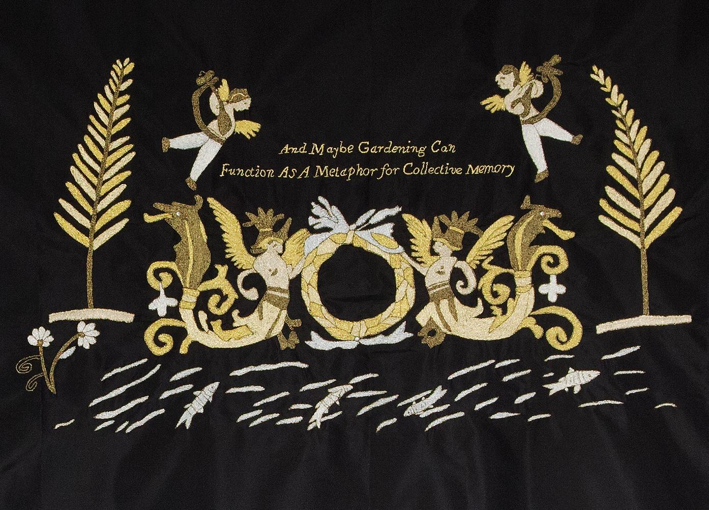 Uncanny Gardening II  (detail), 2017, gold thread on silk, cotton fringe, metal rod