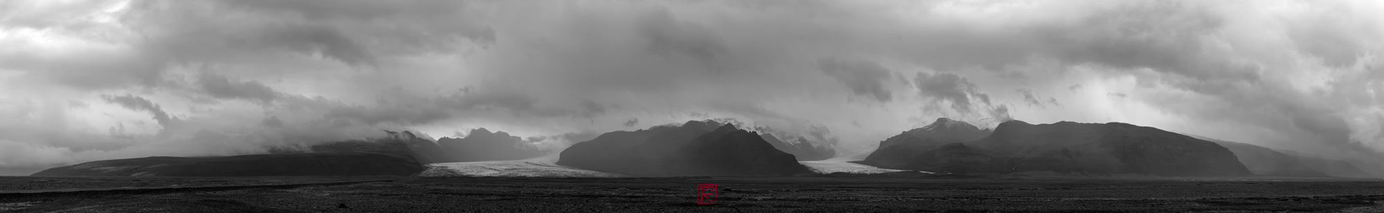 It was around 2006 when my son Victor and I took a trip around Iceland. As we headed North, driving through this long stretch of the road,this majestic view of the glacier was right in front of us and we felt compelled to stop and pay our respect to the land.I think it's  þórisjökull, I'm not certain. Maybe my Icelandic friends can correct me on this.