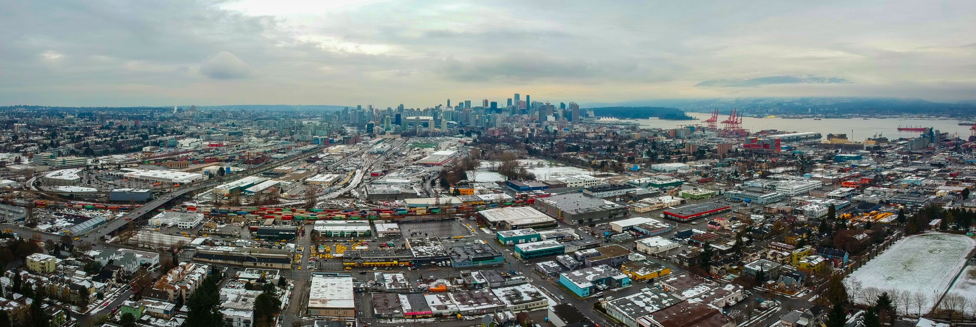 A winter day in Vancouver. Today I flew the drone, shot it up 120 meters hovering just above our home and took this panoramic view. Happy holidays everyone.