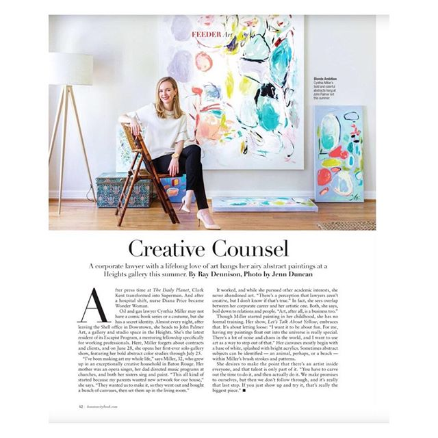 """Thrilled to be included in the summer issue of @houstoncitybook, and excited for the shout-out about my upcoming June 28 show """"Let's Talk about Yellow"""". Thank you to @dennisonray and @jennduncanphoto for this lovely article and photo! . . . . . . #cynthialeighmillerart #houstonartist #houston #houstonstrong #largepaintings #commissionedart #artcollector #abstractartist #contemporaryart  #houstoncitybook"""