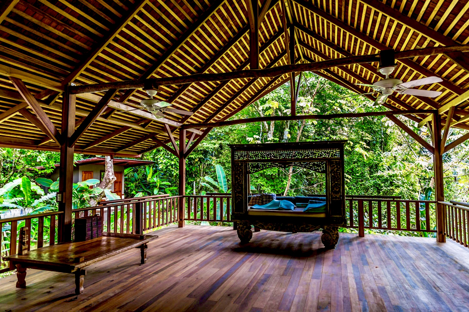 Our 1,575+ Sq Ft. MASTERS PAVILLION is the center piece of the property. Built into the trees at more than 100 feet in the air, reality is suspended here. A neutral, warm, inviting environment for exploration and creativity. Jungle paths connect all 20 acres like arteries of a heart to the heart center of Imiloa.