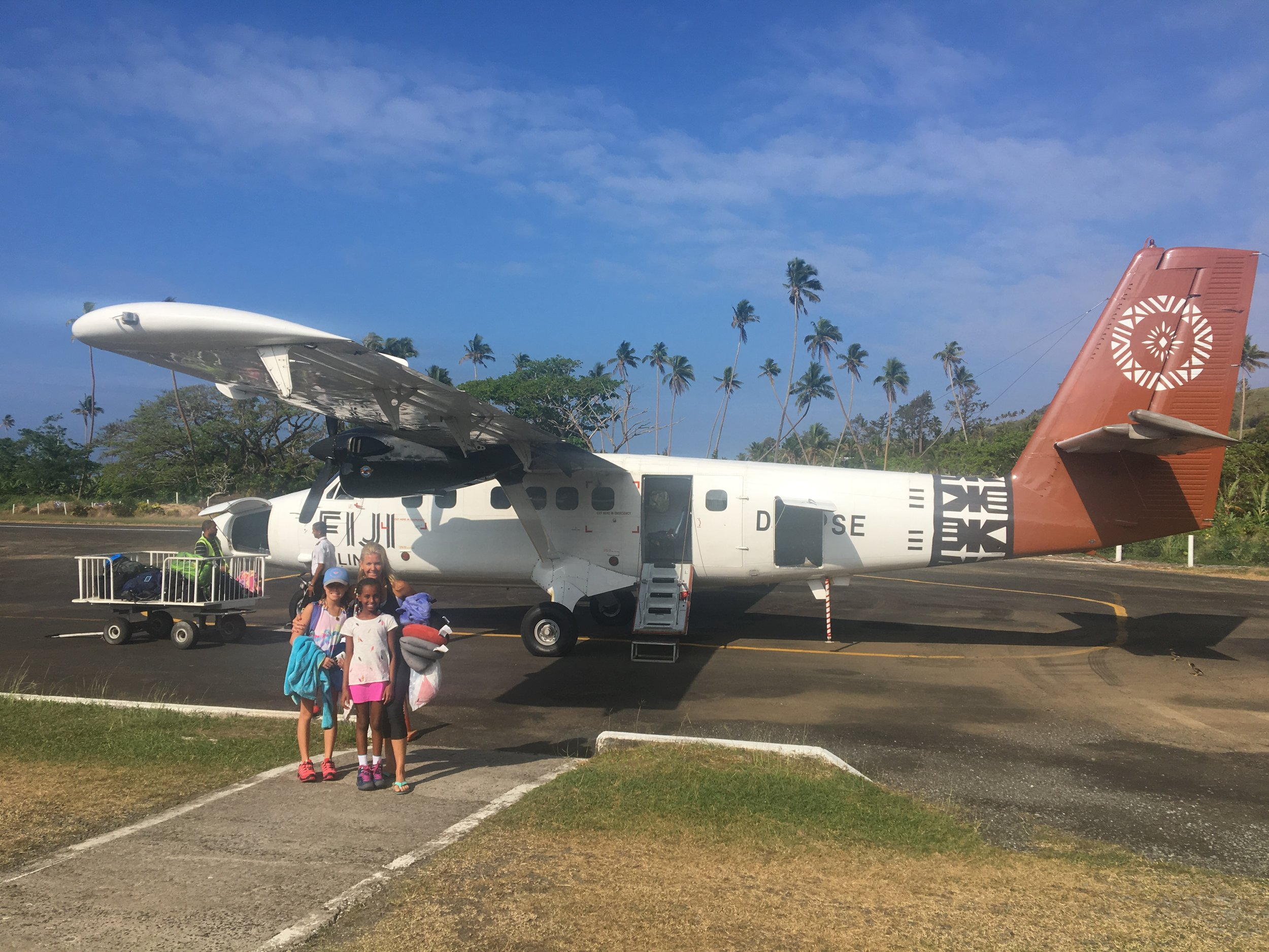 Our flight from Nadi to Savusavu, Fiji had us a little worried at first, but this 18 seat prop plane did the job perfectly. We had an amazing view landing and met some great friends on the flight with whom we are still in touch with today.