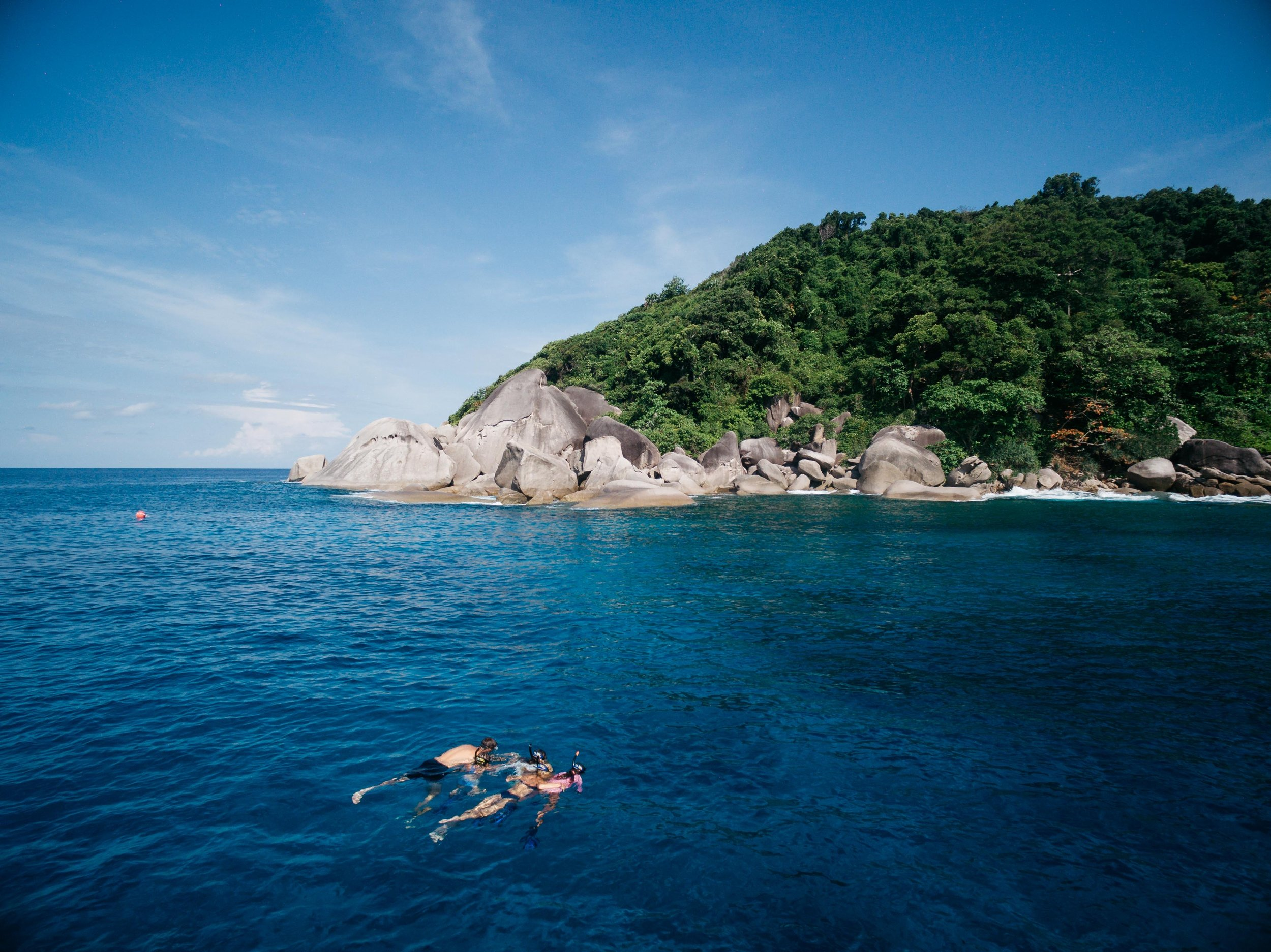 Snorkeling around the beautiful Similan Islands off the southern coast of Phuket, Thailand during our 3 day Live-aboard boat  trip.