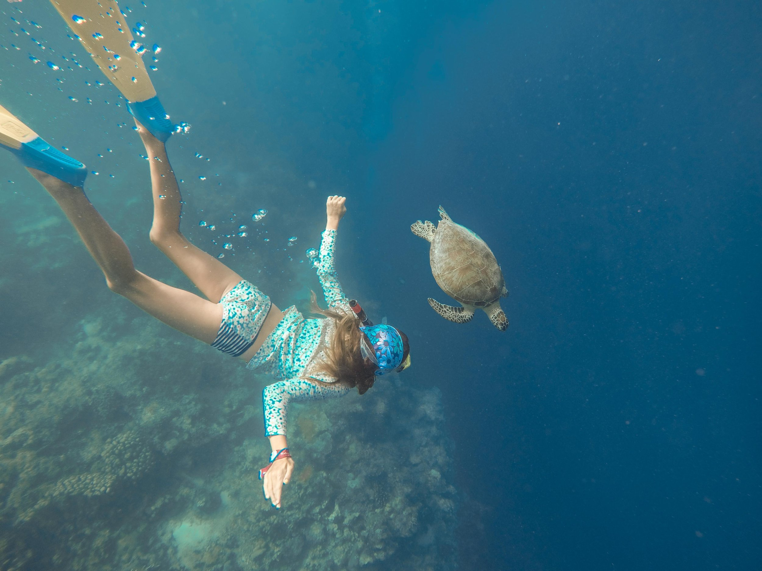 Always chase your dreams, keep the faith, and never give up when things don't go your way. One of the girls goals before we left on this journey, was to see and swim with sea turtles. After 6 months of not being able to locate any along our travels, we finally struck gold in Malaysia while visiting the amazing Mataking Island. Here Taylor goes free diving for a closer look at her new favorite animal.