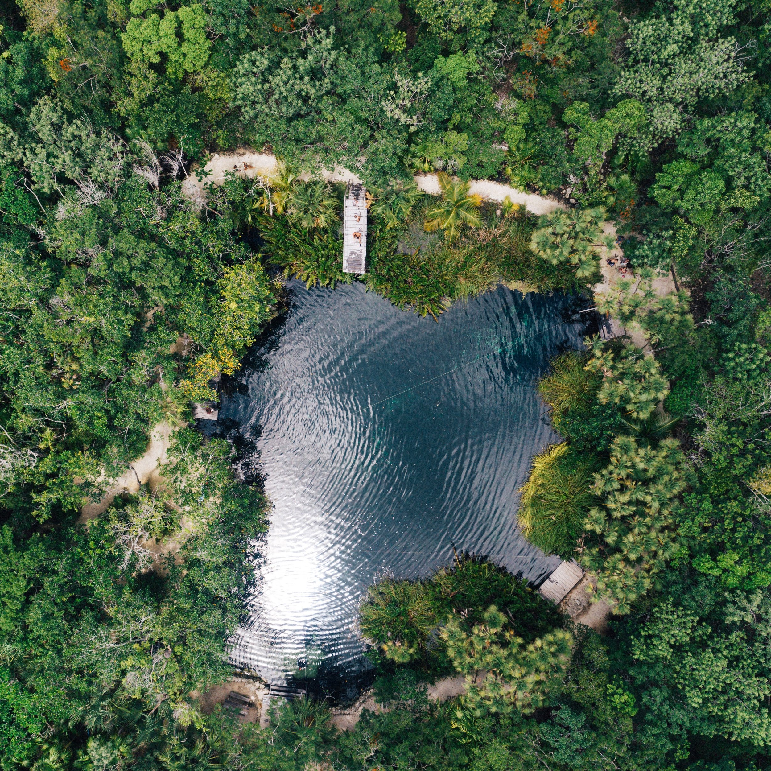 """One of the best parts of """"world-schooling"""" is finding something we all have never heard about before, and enjoying it so much. The cenotes of the Yucatan state of Mexico, are a perfect example of this. A cenote is a natural pit or sinkhole resulting from the collapse of limestone bedrock that exposes fresh groundwater underneath. There are over 6,000 cenotes in this part of Mexico, which now can be visited and are open for swimming, scuba diving, and snorkeling since they have such clear water and amazing unique formations underneath the surface. This one had a nice jumping platform (top middle) which we all enjoyed jumping in from on this humid day. A true hidden gem in the middle of the mayan jungle!!!!"""