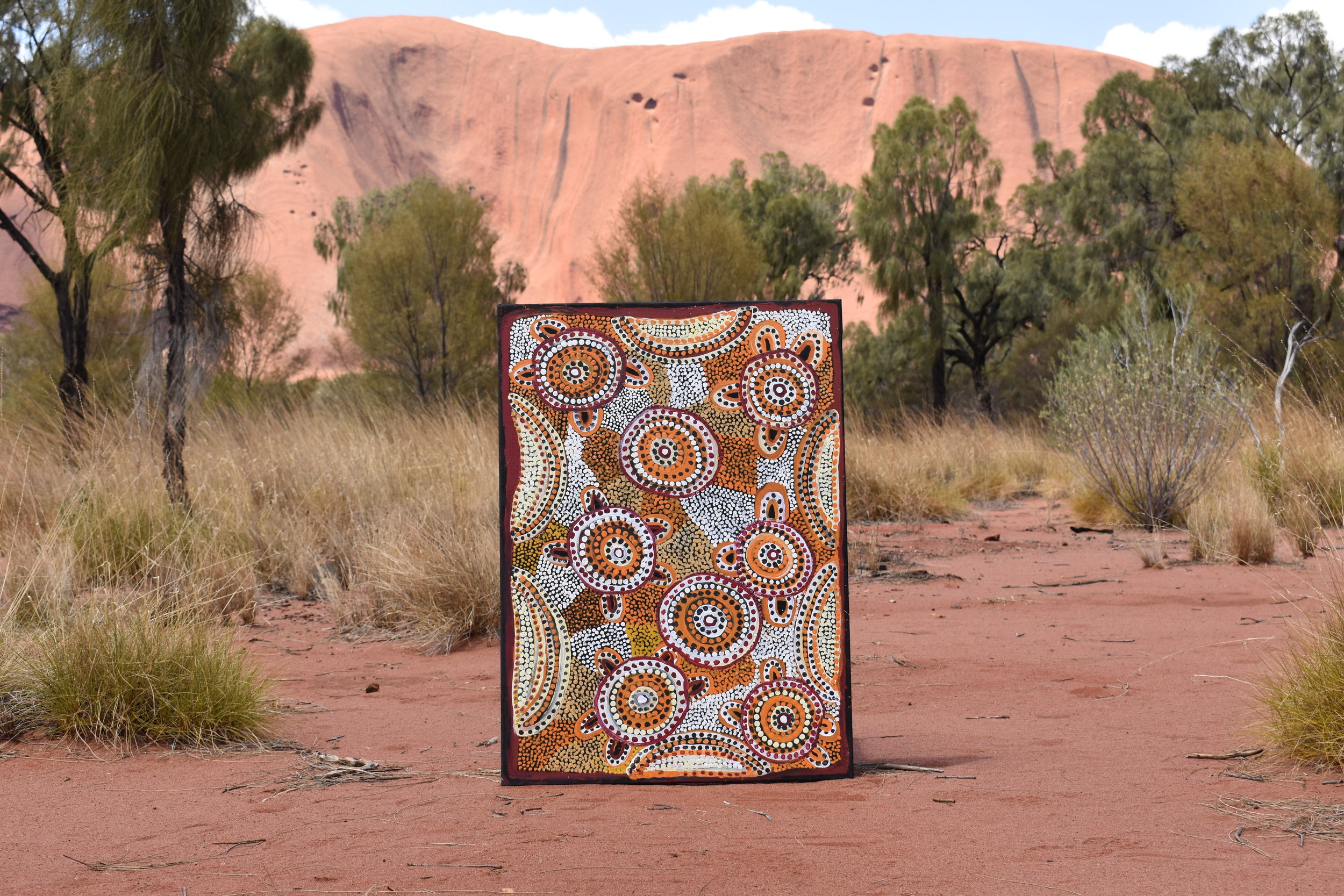"""Minyma Tjuta (Women's Story)"" by Edith Richards, standing proudly in the Uluru-Kata Tjuta National Park."