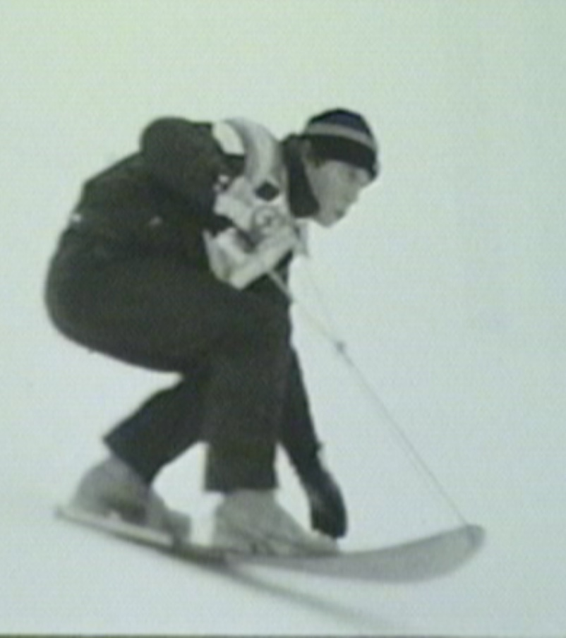David Alert: Looks like no binding on the front foot, with a rubber band over the back. It was a time of rampant experimentation and overnight development. Suicide Six marked a transition from the pinnacle of Snurfing into the dawning age of Snowboarding.