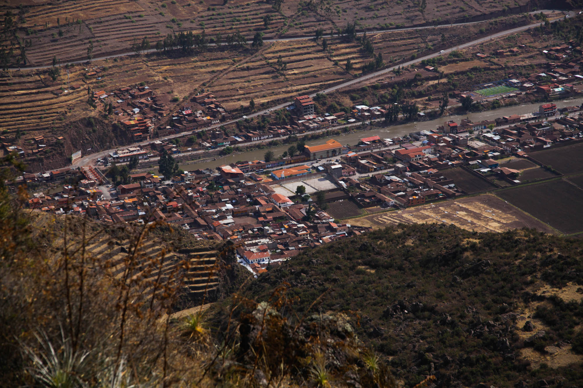 Pisac town looking down from the trail to the ruins