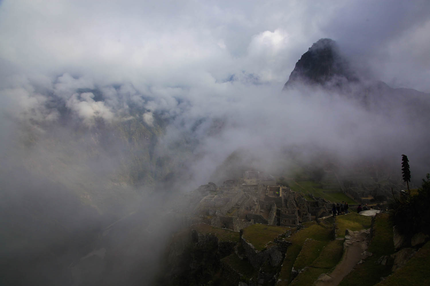 Early in the morning at Machu Picchu mist is common