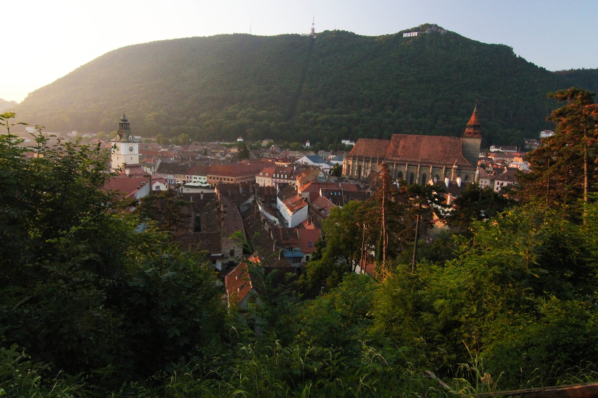 The Old Town Hall (left) and Black Church (right) in Brasov