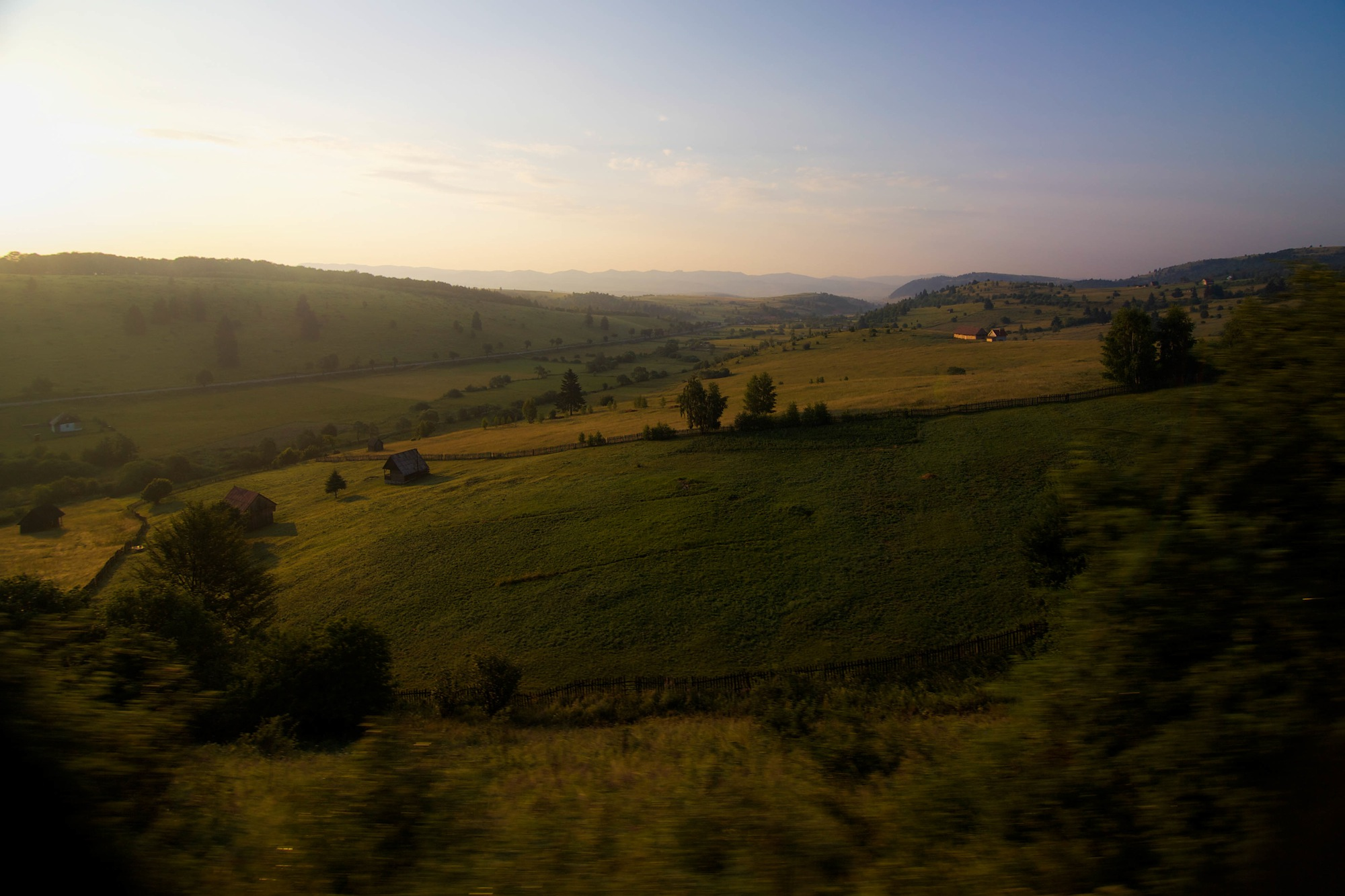 Transylvanian hills from the train