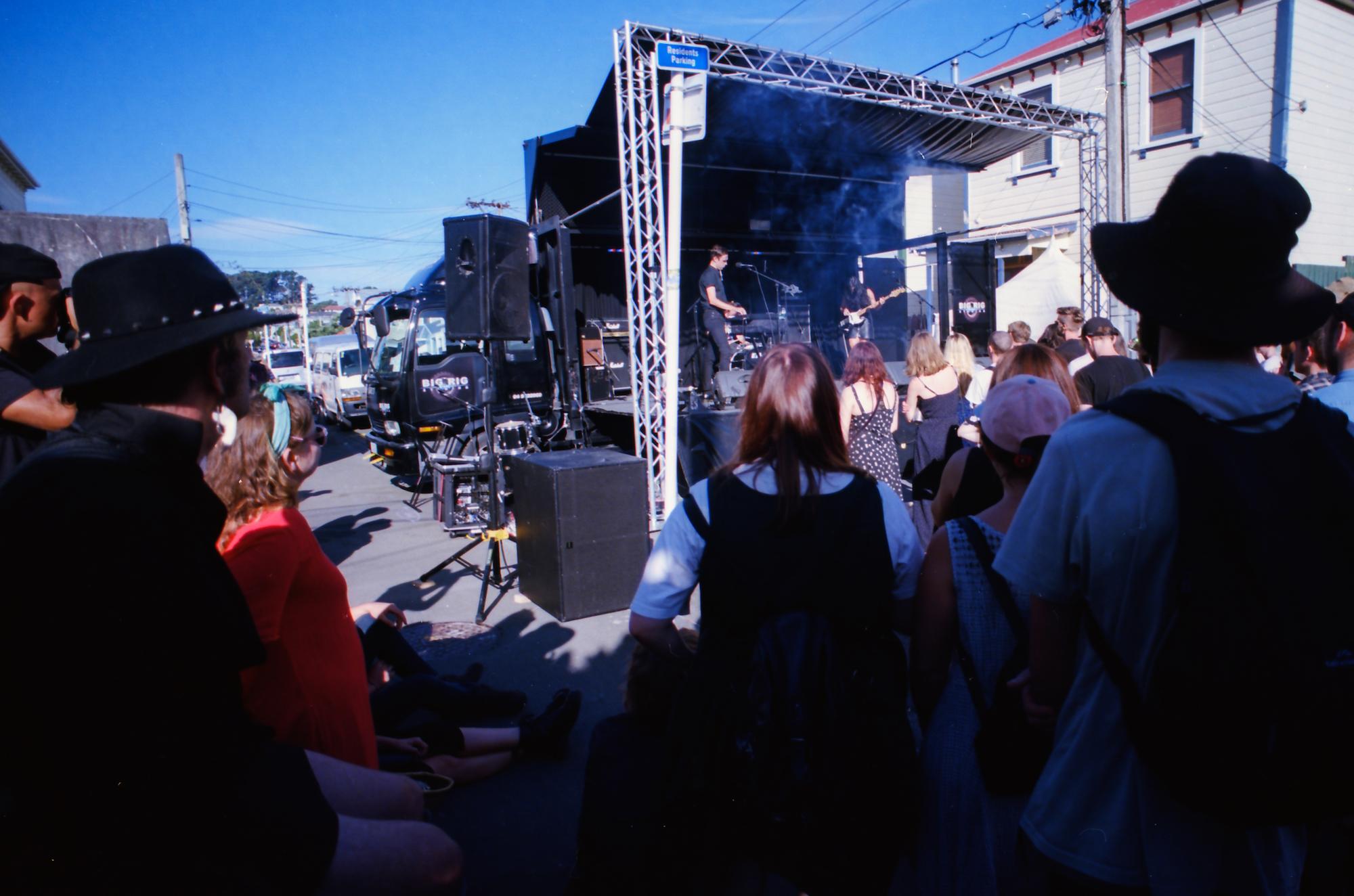 Wax Chattels, Newtown Festival, Nikon FE2, Nikkor 20mm f3.5, Ektar 100 35mm film