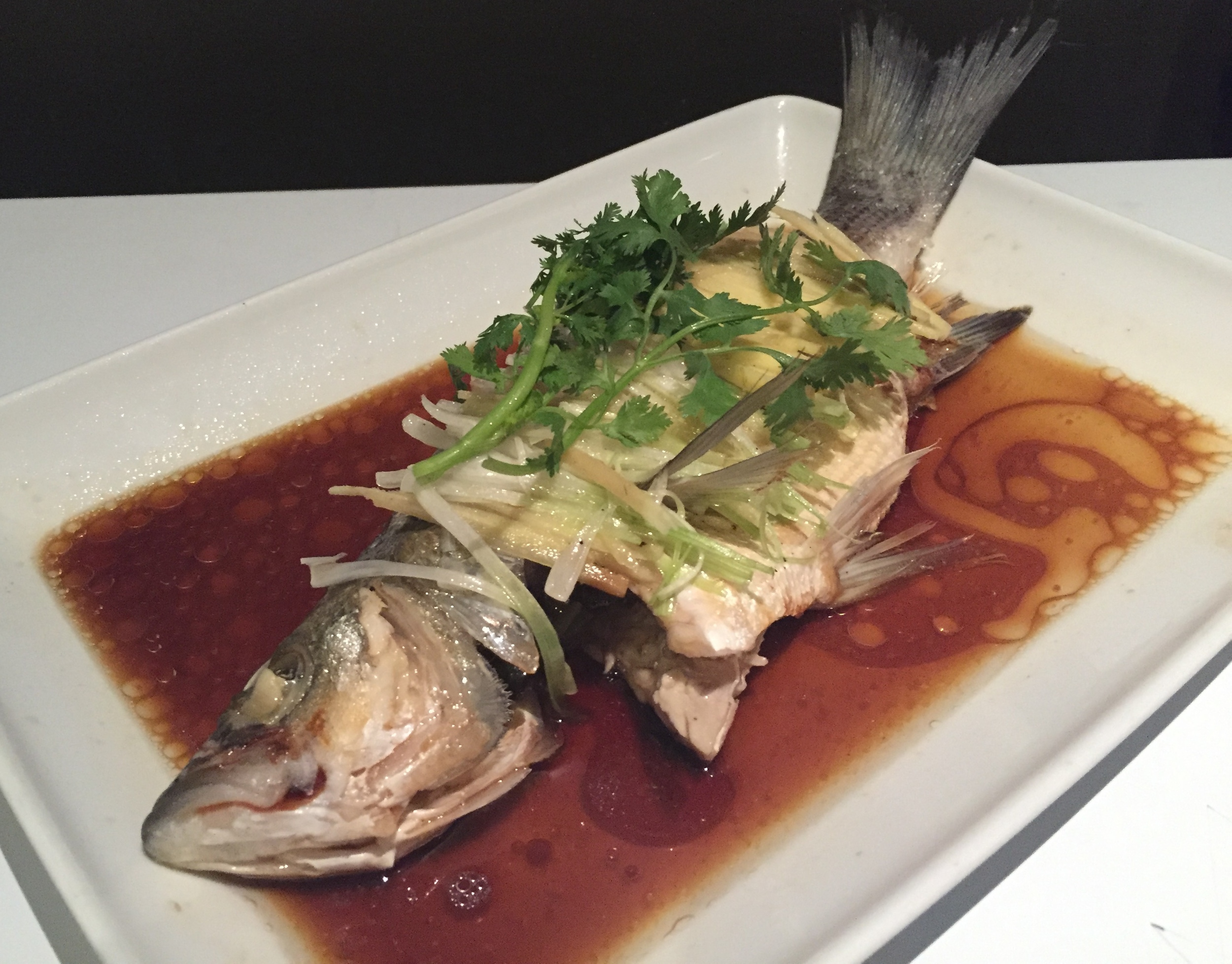 Whole Steamed Striped Bass