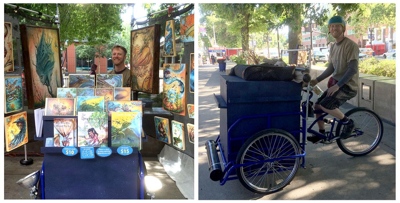 Mobile art gallery cargo trike at Portland Saturday Market