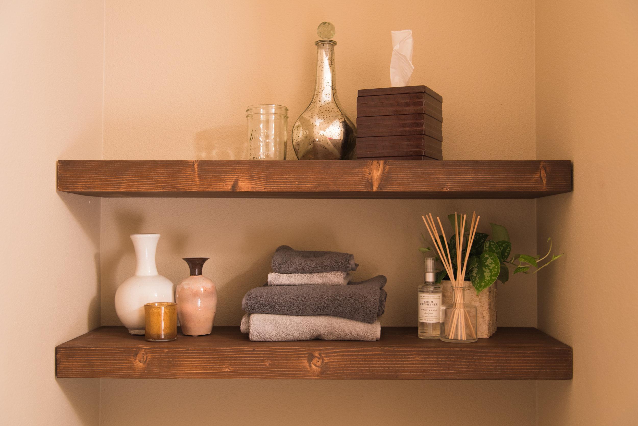 Floating shelves for the washroom
