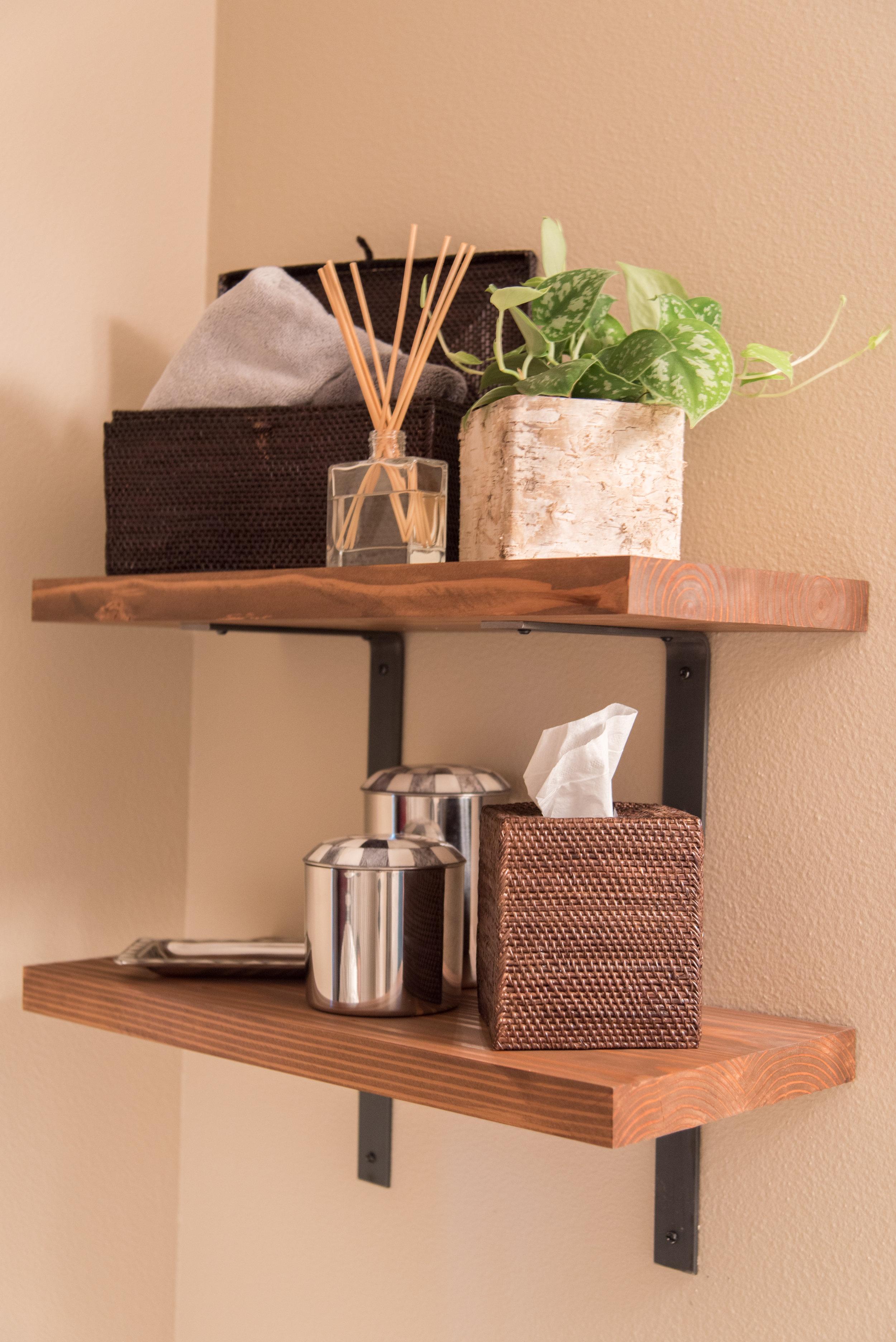 Shelves with custom brackets