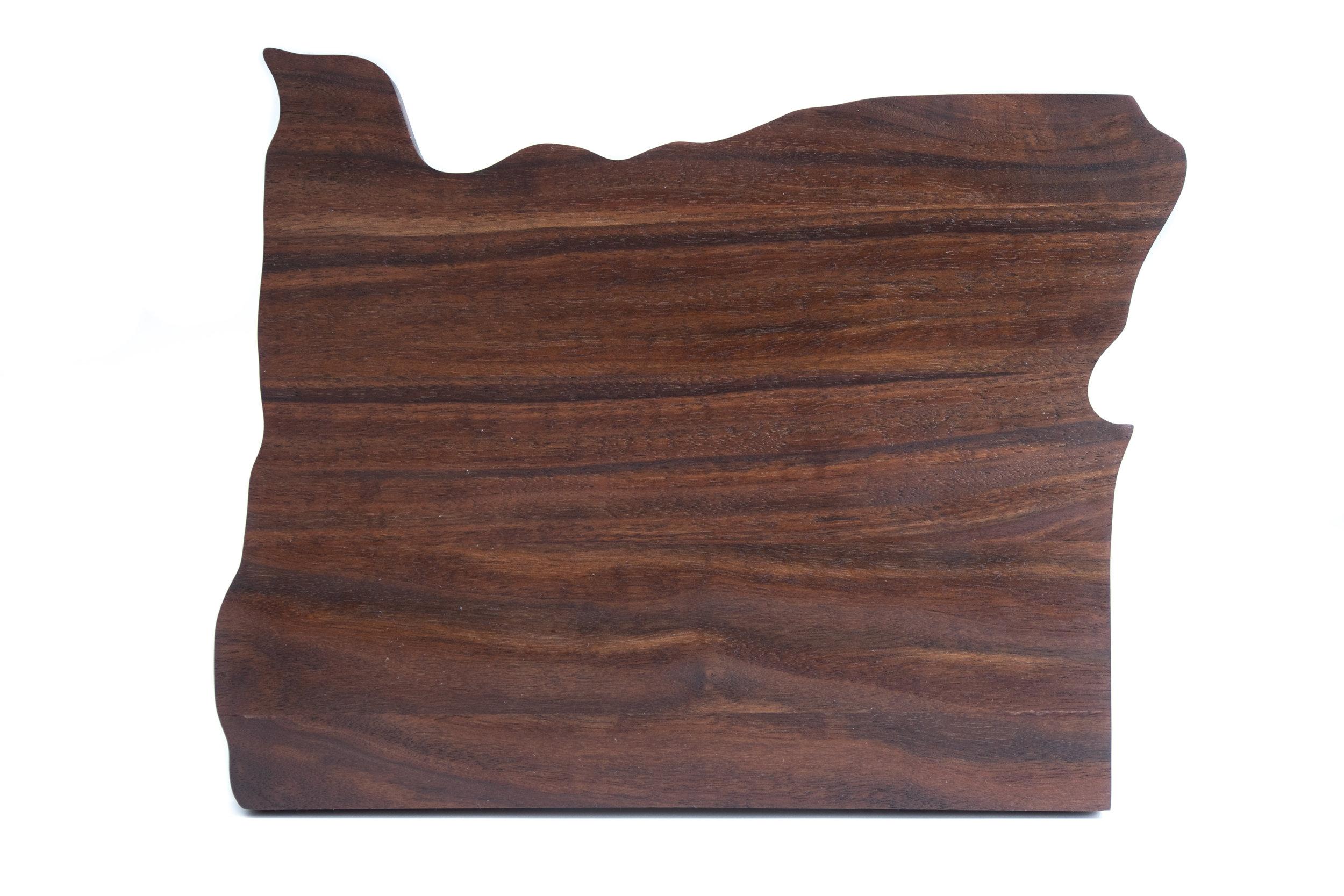 Oregon shaped Claro walnut cutting board