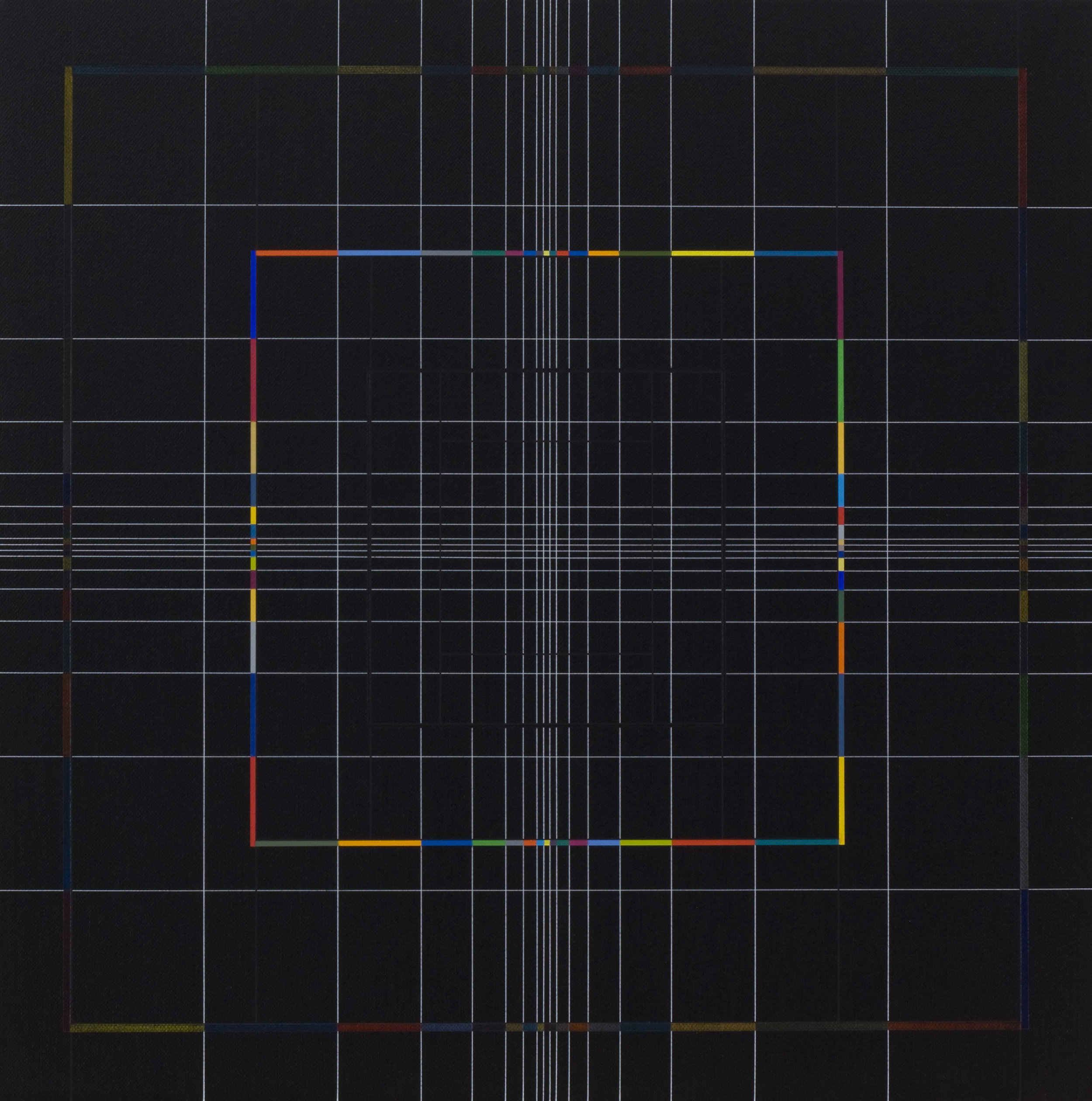 Yantra-ipsum(1)2013.Sep, acrylic on canvas, 17 3/4 x 17 3/4 in. [45x45cm]