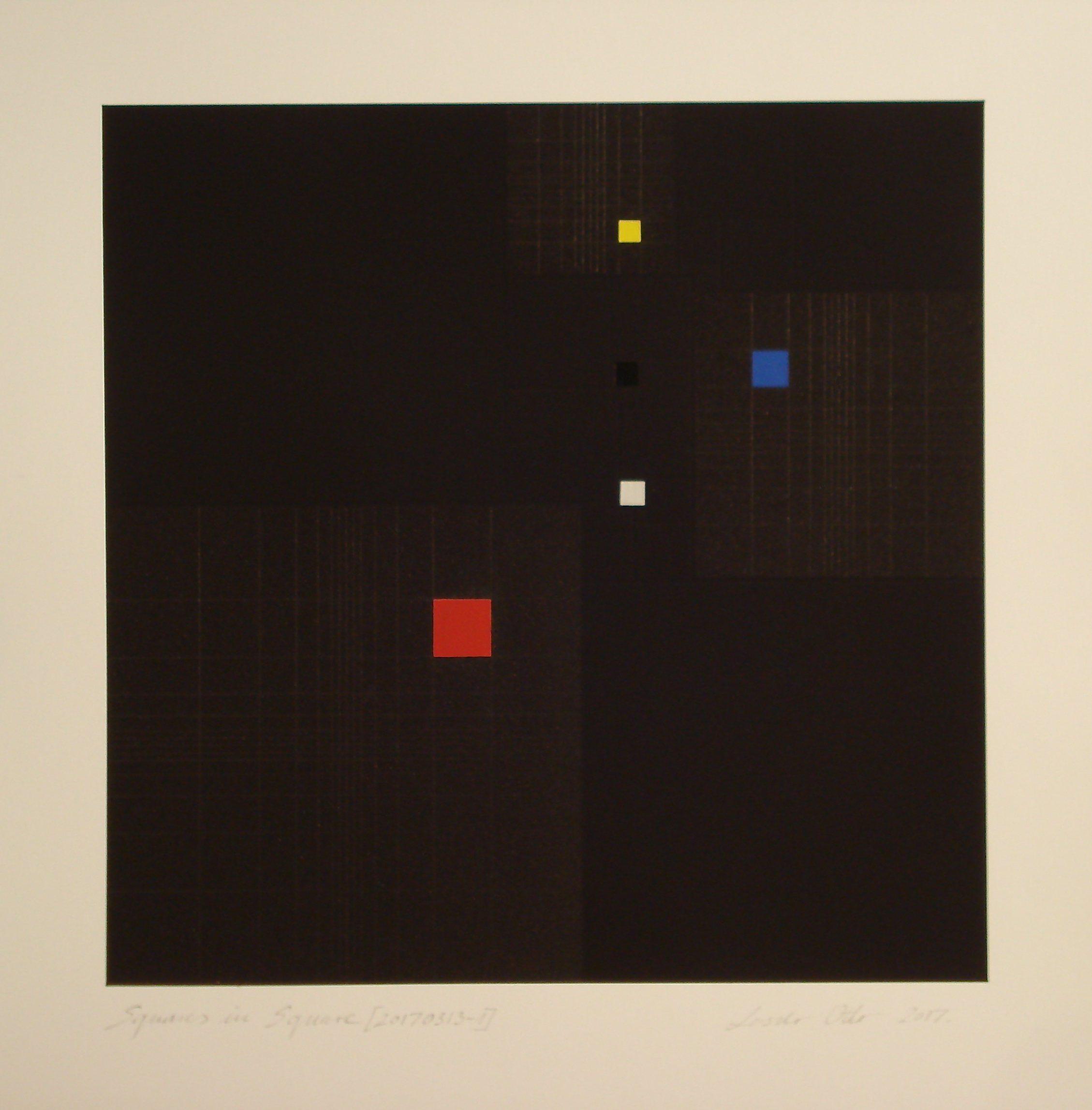 Squares in Square + Fibonacci-sequence [20170313-2], 2017, pigment, acrylic on paper, 14 x 13 13/16 in. [35.5x35cm]