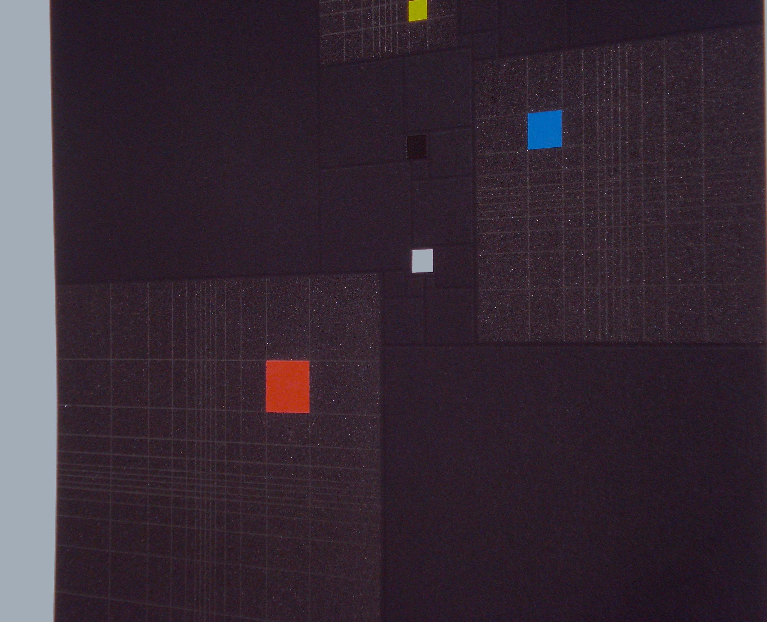 Squares in Square + Fibonacci-sequence [20170313-2], 2017, pigment, acrylic on paper, 14 x 13 13/16 in. [35.5x35cm]3