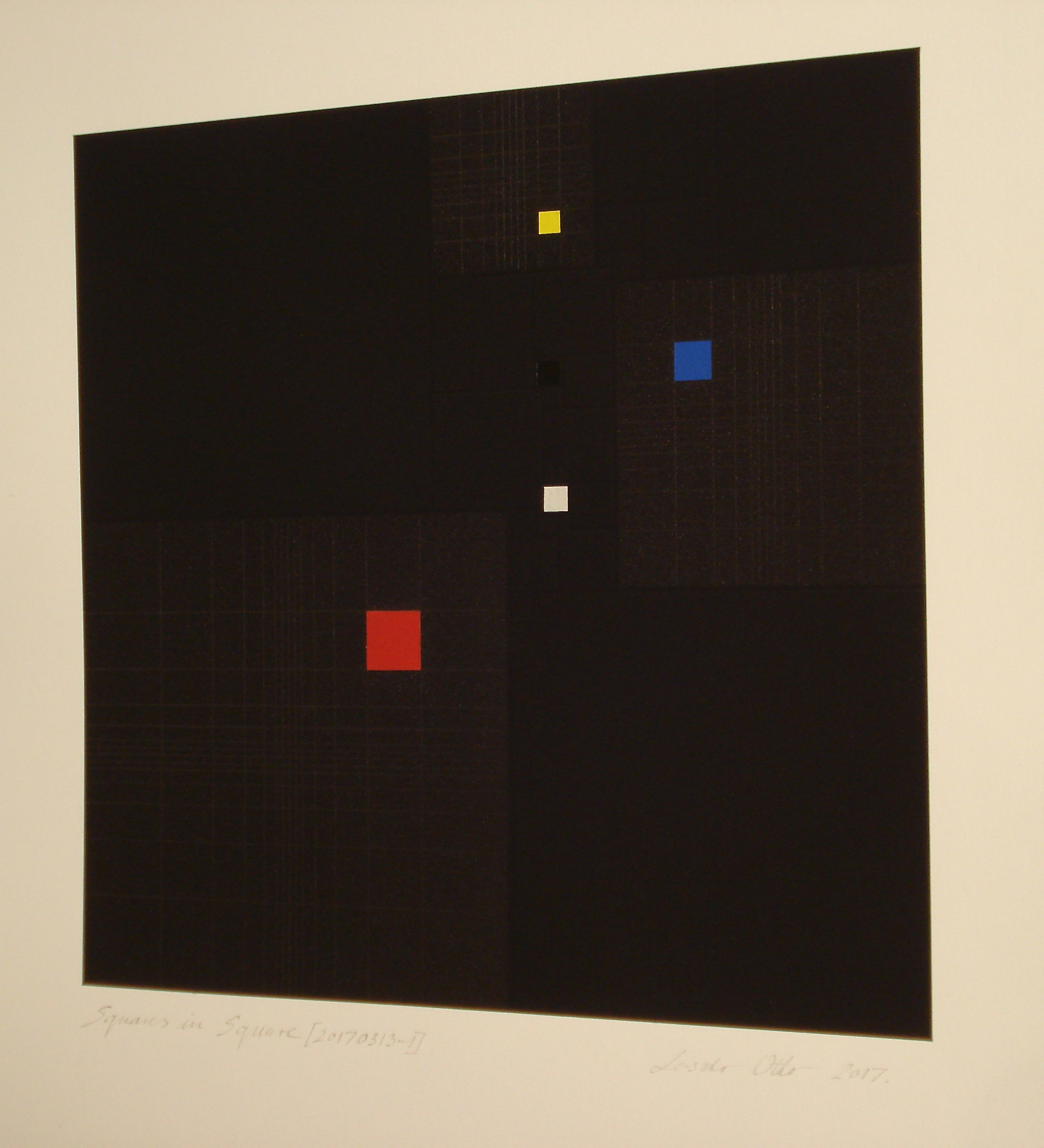 Squares in Square + Fibonacci-sequence [20170313-2], 2017, pigment, acrylic on paper, 14 x 13 13/16 in. [35.5x35cm]2