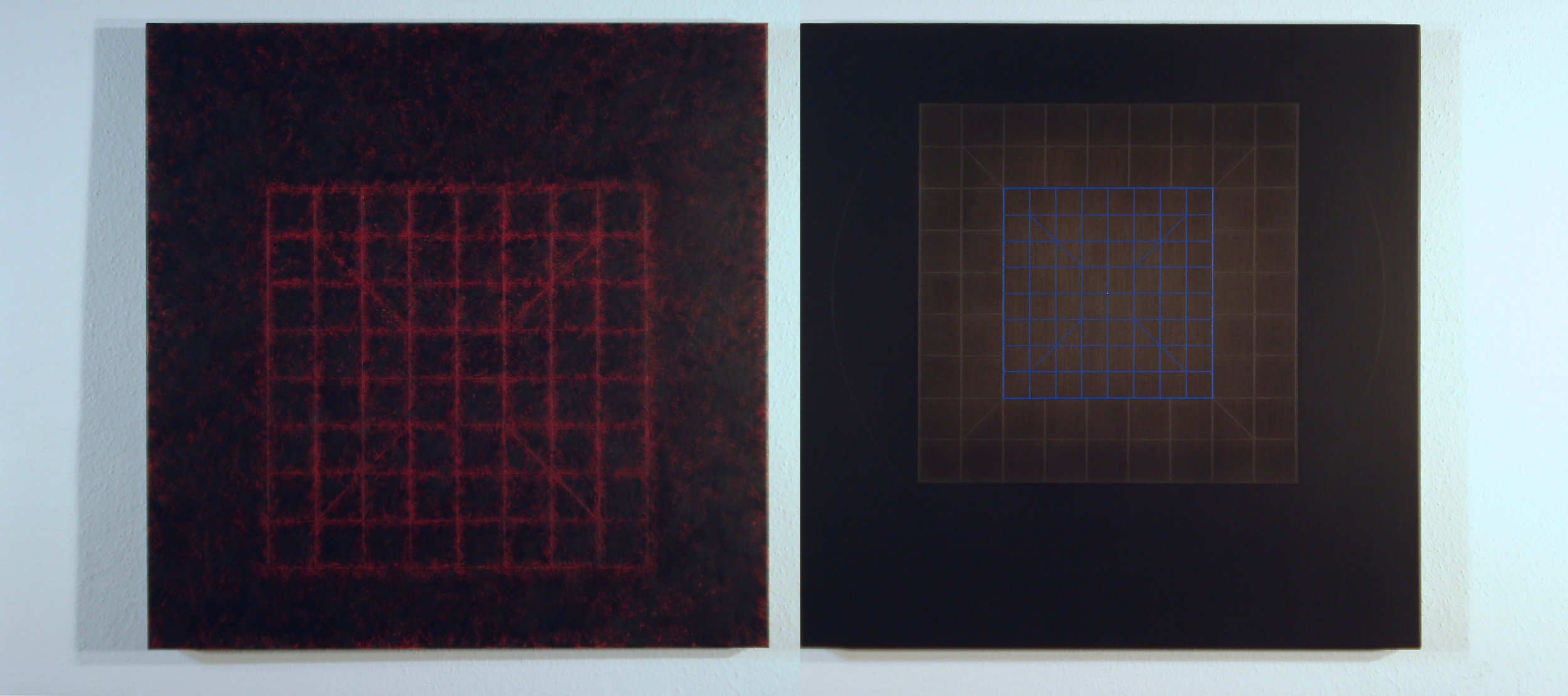Catharsis-cosmometry-ativarna-brahmana [Diptych-1-2]-[20170926-27], 2017, acrylic on canvas, 17 3/4 x 15 3/4 in. [75x75cm]2x