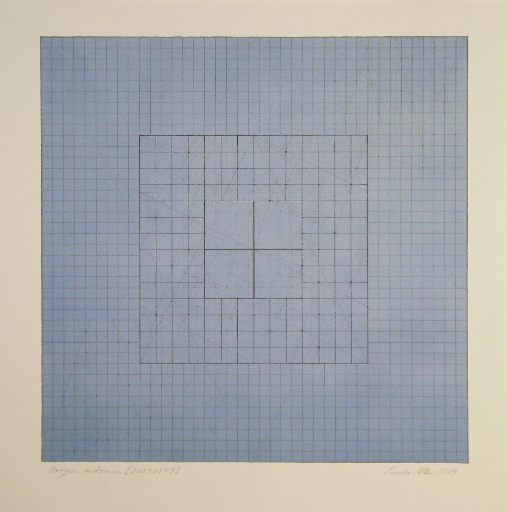Origo-metrum [20190107], pencil on paper, color pigment, 17 3/4 x 17 3/4 in. [45x45cm]