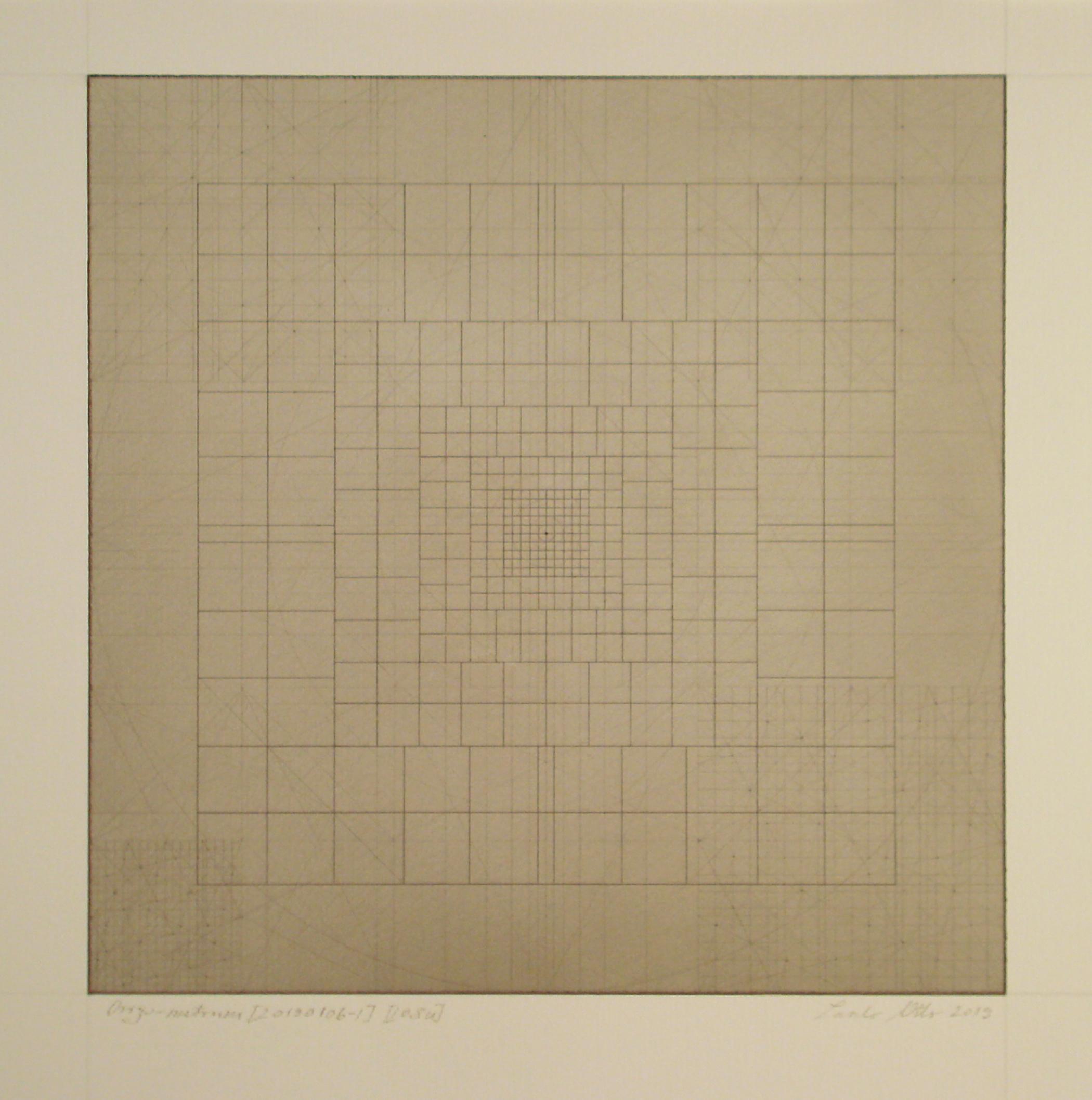 Origo-metrum [20190106-1], pencil on paper, color pigment, 17 3/4 x 17 3/4 in. [45x45cm]