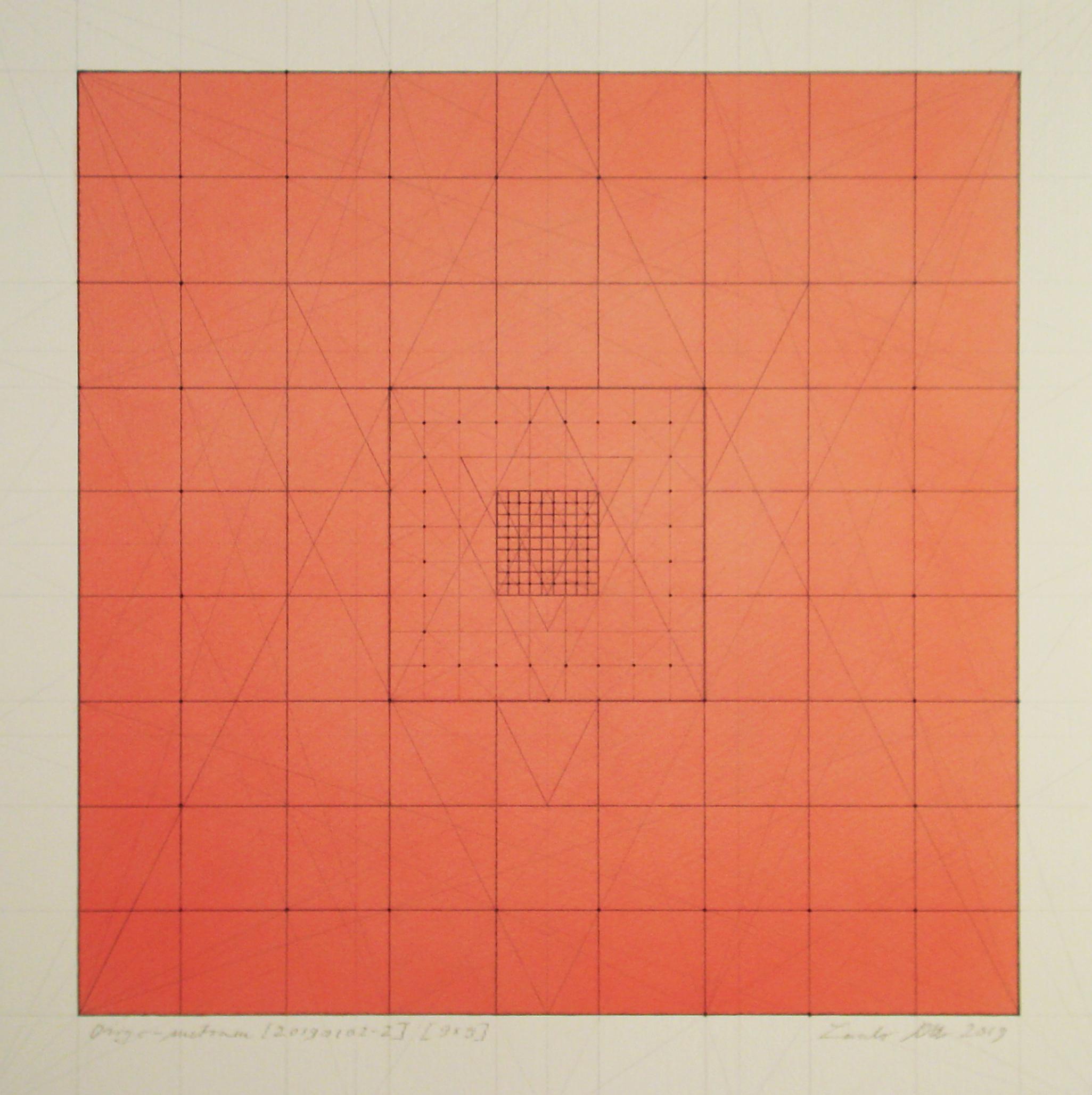 Origo-metrum [20190102-2], pencil on paper, color pigment, 17 3/4 x 17 3/4 in. [45x45cm]
