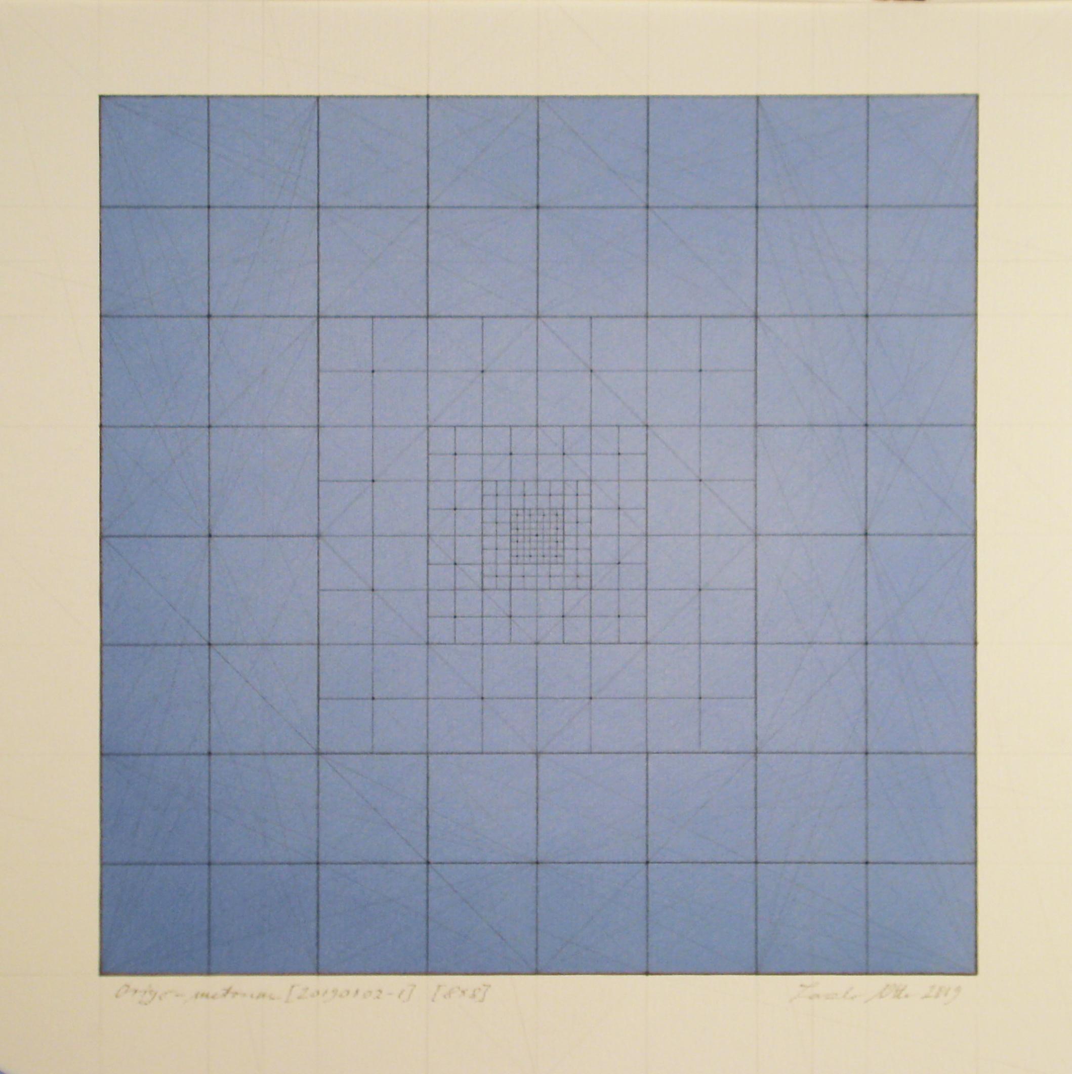 Origo-metrum [20190102-1], pencil on paper, color pigment, 17 3/4 x 17 3/4 in. [45x45cm]