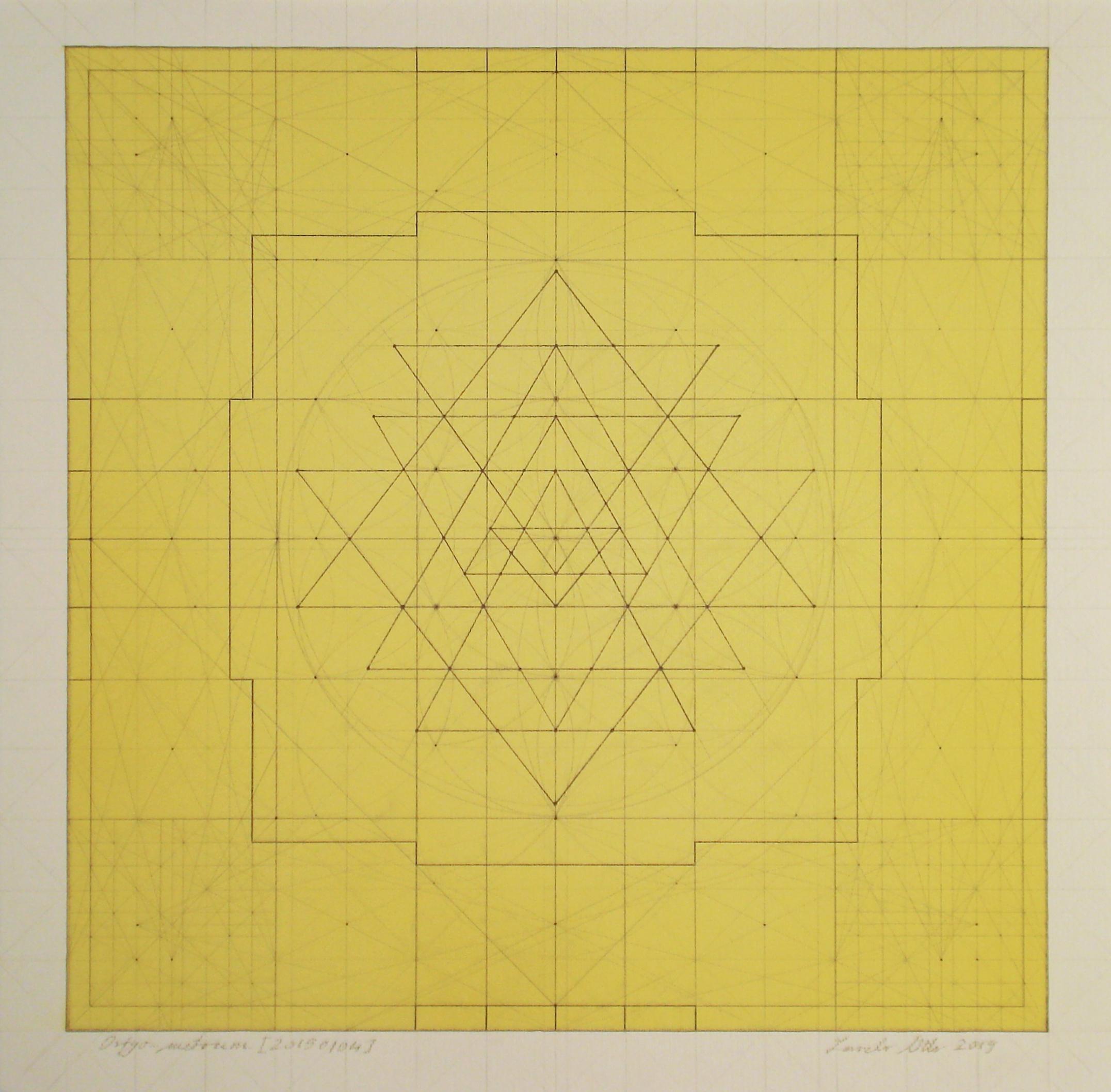 Origo-metrum [20190104], pencil on paper, color pigment, 17 3/4 x 17 3/4 in. [45x45cm]