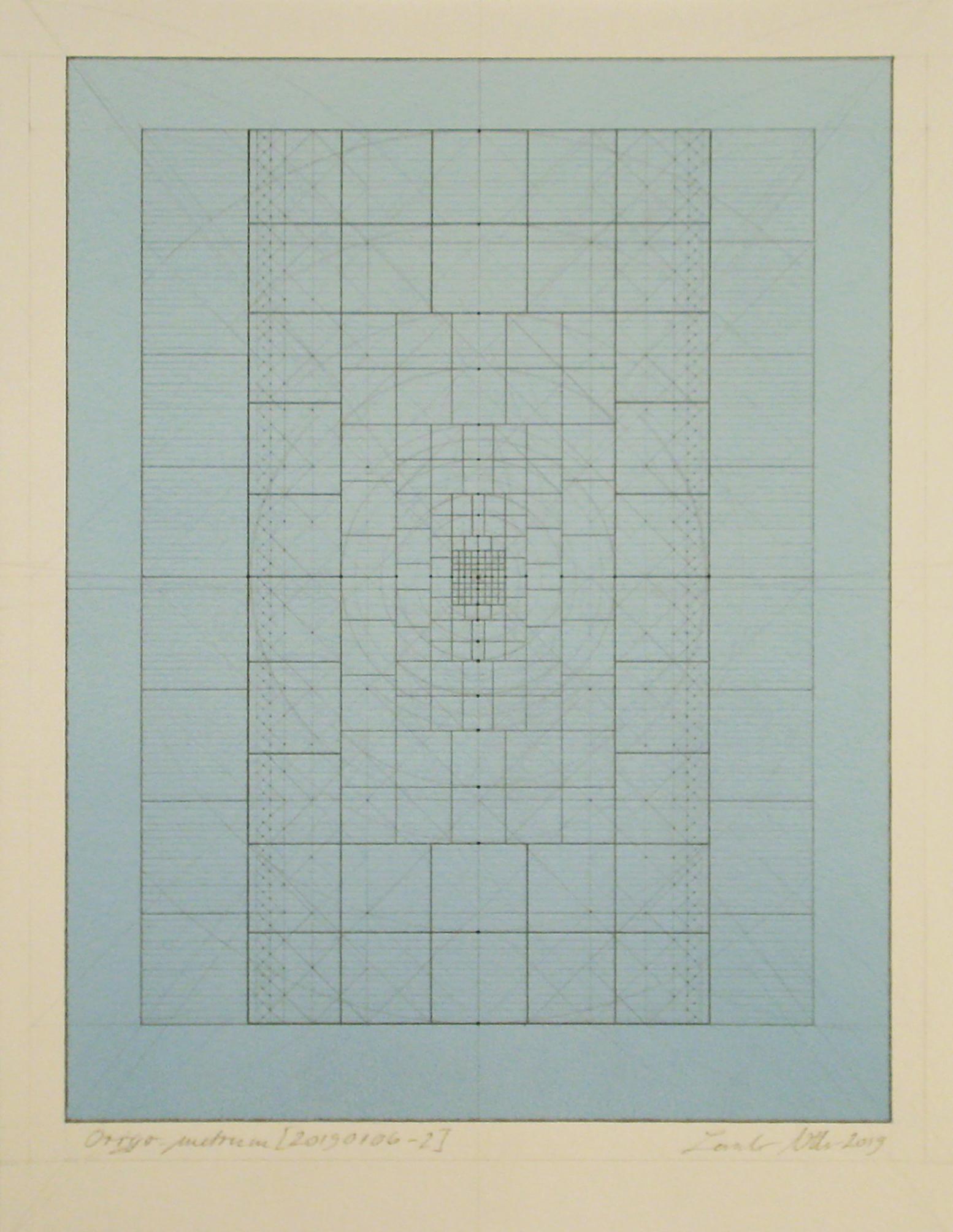 Origo-metrum [20190106-2], pencil on paper, color pigment, 15 3/4 x 11 13/16 in. [40x30cm]