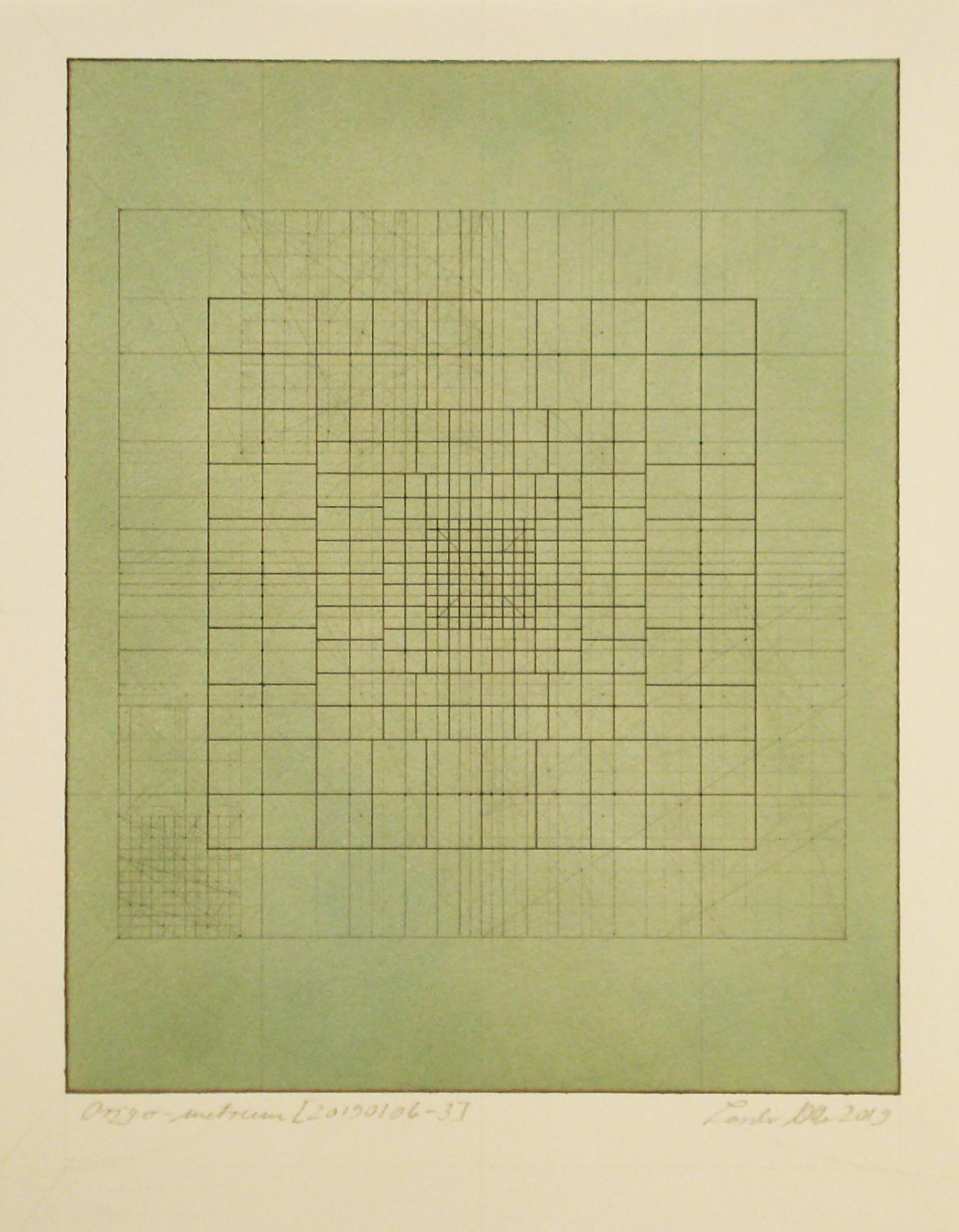 Origo-metrum [20190106-3], pencil on paper, color pigment, 15 3/4 x 11 13/16 in. [40x30cm]