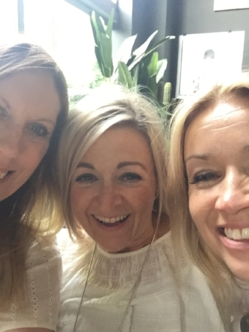 Me, Tina and Dee arriving at Abigail Ahern Design Masterclass
