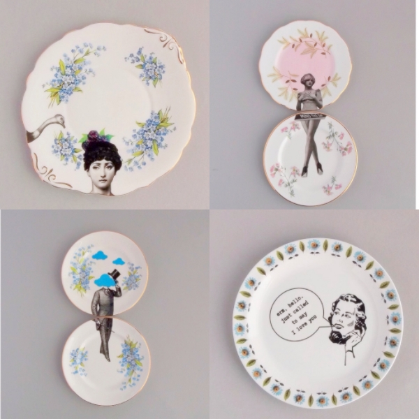Examples of Debbie's stunning upcycled plate artwork.