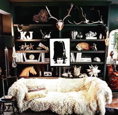Eclectic dark interiors at the amazing home of @cowboykate_