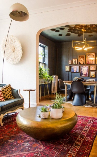 Fabulous eclectic room, courtesy of Pinterest. Check out the amazing wall of women.