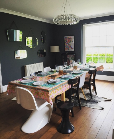 My swapped around dining room, now a cosy haven perfect for drinking huge quantities of wine, food and gossip.