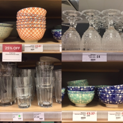 Clockwise from left: Very lovely little tapas bowls, chunky wine glasses that look dishwasher proof to me,more tapas bowls (can you tell I like tapas?), classic French tumblers that never date for a bargain price.
