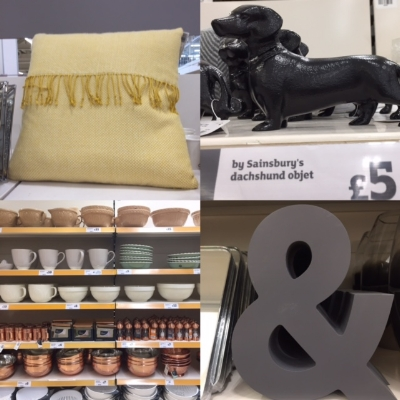 Clockwise from left: Pale mustard fringed cushion £14,very cute black dachshund ornament, large ampersand £10, lovely display of copper kitchenware.