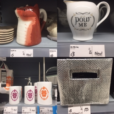 Clockwise from left: Gorgeous fox jug in the style of zebra vase, very cute milk jug, two silver storage baskets, Day Of The Dead stylie bathroom accessories.