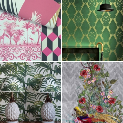 From top left clockwise:  @cole_and_son_wallpapers ,  @barnebygates,   @timorous_beasties,   @houseofhackney