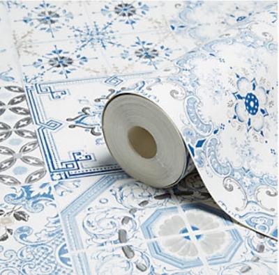 B&Q Muriva Tiles Wallpaper  - beaut.