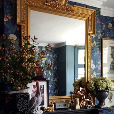 One of Oliver's favourite pieces in his own home, a luxe upcycled mirror.