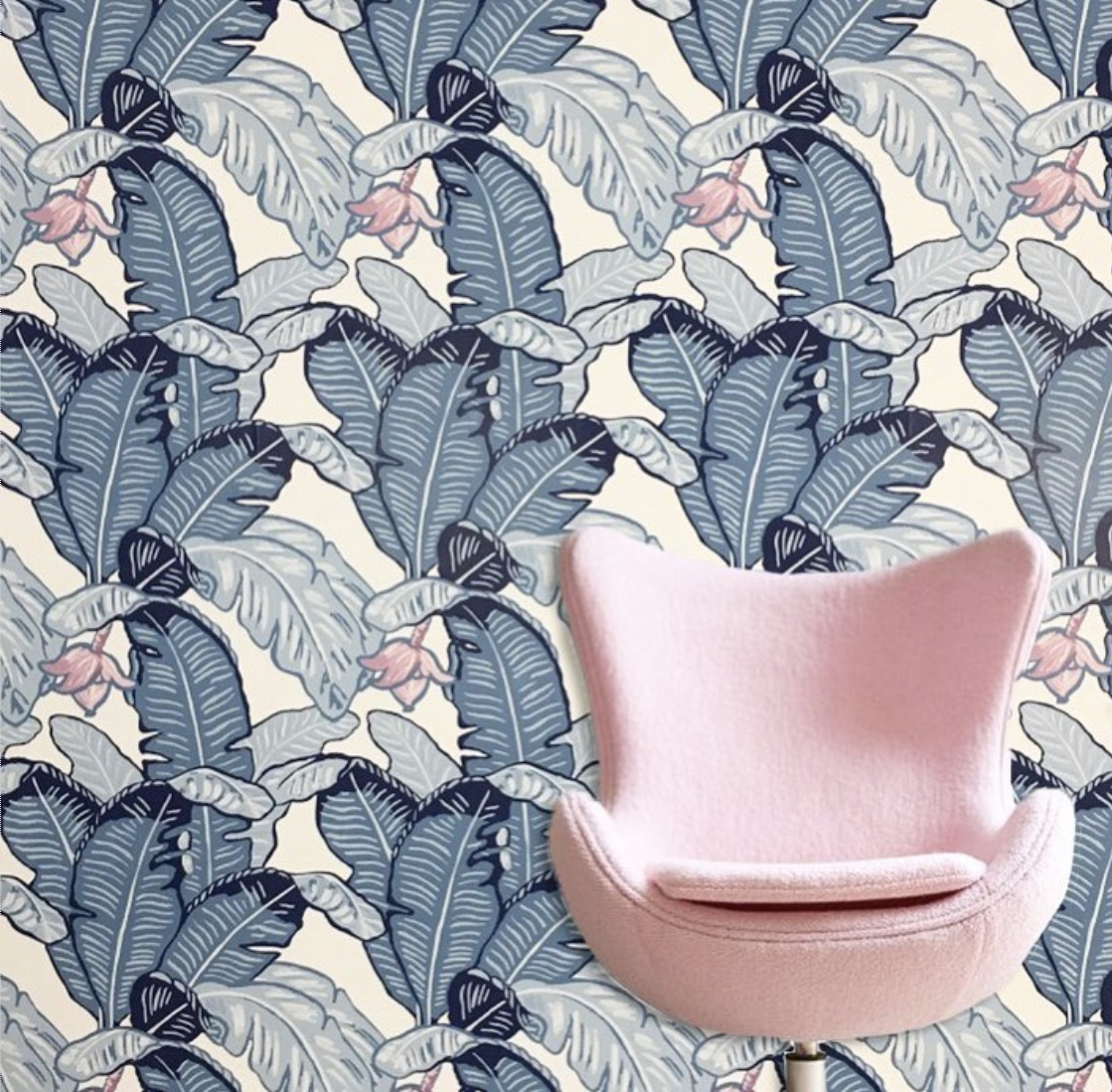 It doesn't need to be stand out pink to make an impact.  This wallpaper from  The Loft & Us  has a subtle pink interwoven into the pattern.