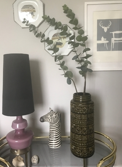 Faux eucalyptus from  Country Baskets .  Economical and long lasting.