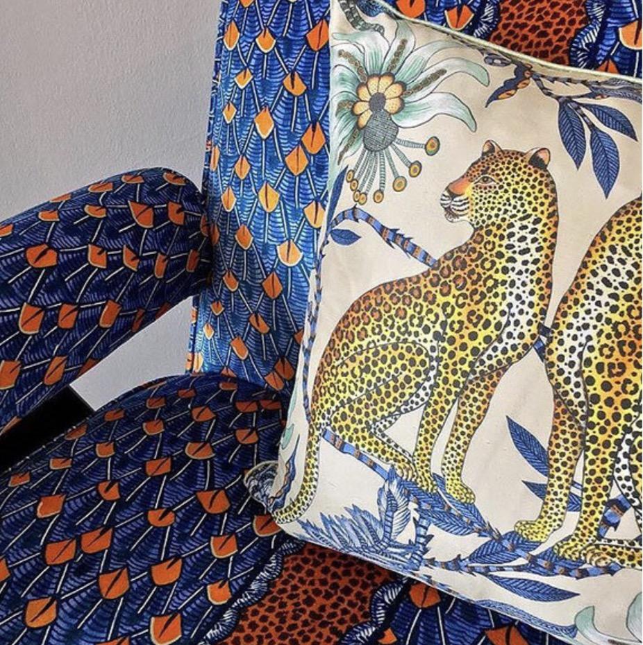 Lovebirds Leopards Ardmore Cushion  £100