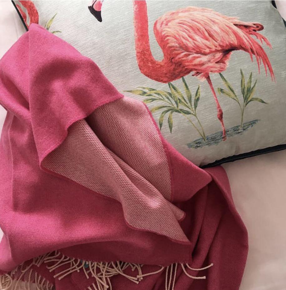 Hot Pink Lambswool Atlantic Blanket  £90