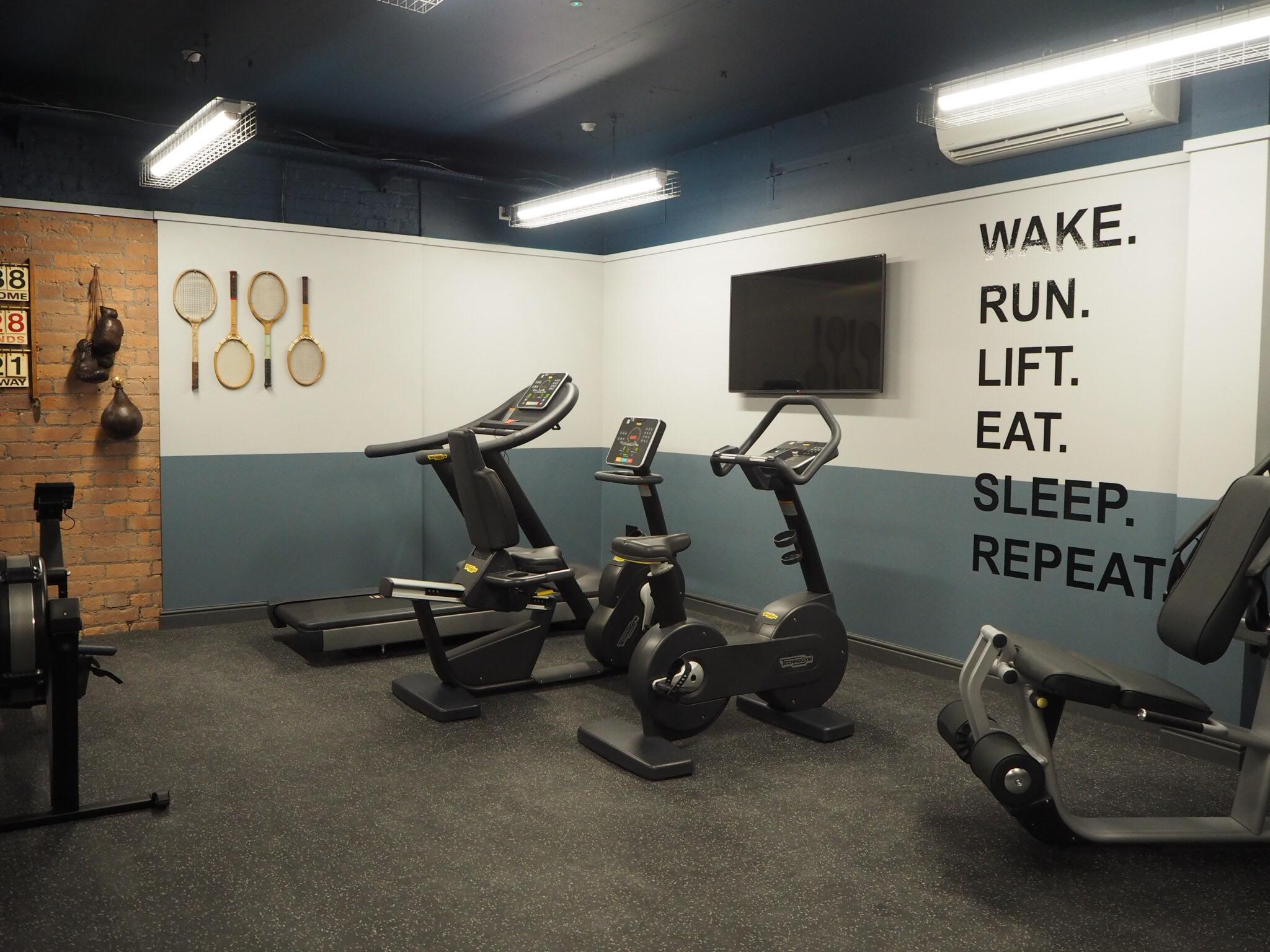 The communal gym.